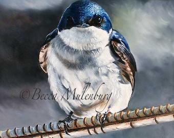 bird painting Original tree swallow wildlife nature fine art