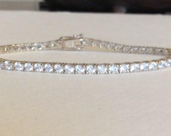 Tennis bracelet cz in solid sterling silver