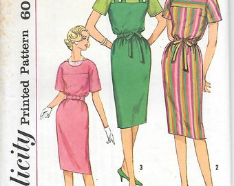 Simplicity 3821 - 1960s Sheath Dress with Colorblock Yoke UNCUT Vintage Sewing Pattern Bust 31