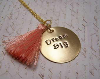Dream Big Necklace with Coral Tassel. Bohemian. Trendy. Long Chain