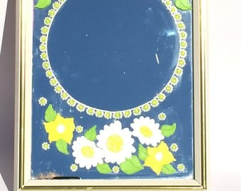 Vintage Hand Painted Daisy Mirror