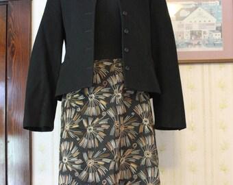 TALBOTS Dressy Black and Gold Skirt, 1990s, Size 4