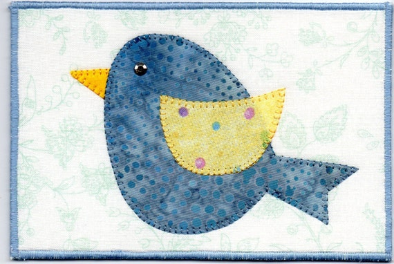Quilted Fabric Blue Baby Blue Bird ...