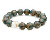 Denim Blue Bronze Gold Faceted Agate Bracelet Gemstone Beaded Stacking Raw Aquamarine Stretch High Fashion Celebrity Style by Mei Faith