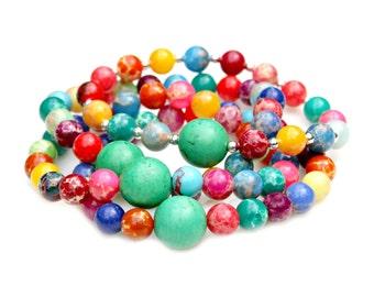 Rainbow Jasper Bracelets Set of Four Green Turquoise Sterling Silver Beaded Colorful Tuttti Fruity Fun Arm Candy Modern Fun Fresh Mei Faith