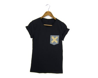 X Marks the Spot Pocket Tee - Boyfriend Fit Scoop Neck Tshirt with Rolled Cuffs in Black and Heather Grey with Gold - Women's M-3XL
