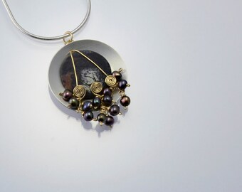 Creation Day 3 Necklace in Sterling, 14kt Gold Filled, Pearls, Jasper