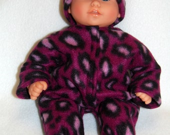 "Pink Leopard Fleece Sleeper Bunting and Hat for 12"" Corolle Mon Premier Baby dolls tkct737"