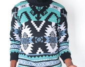 Vintage Sweater // Green Blue Monochromatic Ethnic Ecote Knit Tacky Jumper // UGLY CHRISTMAS SWEATER