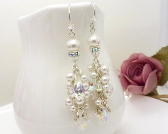 White pearl and crystal cluster earrings in sterling silver, bridal wedding jewelry