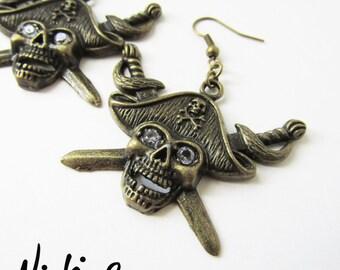 Antique Bronze Dangling Skeleton Pirate Cubic Zirconia Earrings (ERSP1)