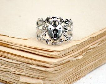 Heart Ring,Silver Heart Ring,Lock Ring,Silver Lock Ring,Fairy Tale Princess,Key to My Heart,Steam Punk Ring,Silver Heart Padlock