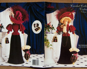 vintage 1995 Crochet Collector Costume crochet  pattern Volume 14 - Fashion Doll 1896 travelling Costume