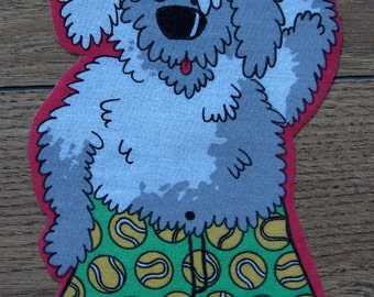 "fabric iron-on applique sheepdog Mr. Mugs children boy girl 8 1/4"" x 4 1/2"""