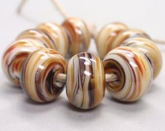 Bigger Back Tiger Swirls  - 10 Handmade Lampwork Beads SW 146