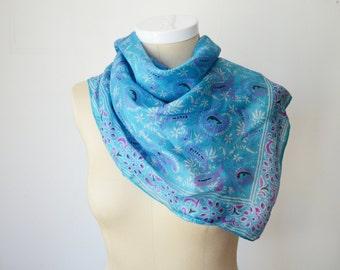 Blue Indian Block Printed Silk Scarf
