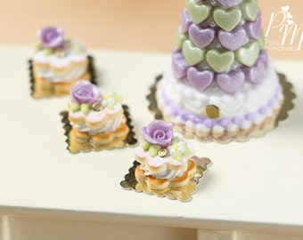 Cream-Filled Sablé with Purple Rose - Individual Pastry - Miniature Food for Dollhouse 12th scale 1:12