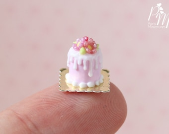 Individual Flowery Drip Cake in Pink and White - 12th Scale Miniature Food (Pink Collection 2016)