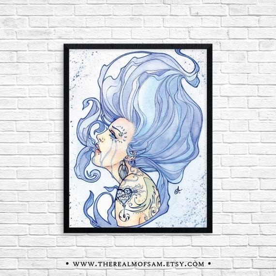 11x14 The Coalescence of an Evanescent Miasma -  Fine Art Print, Watercolor, Blue, Portrait, Fantasy, Tears, Smoke, Painting, Beauty, Giclee