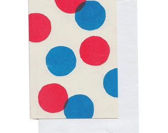 Red and Blue Big Circles... Riso Printed Notecard