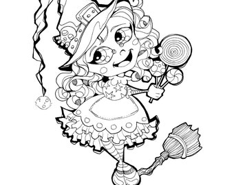 halloween trick or treat candy lollipop witch coloring page printable instant download - Lollipop Coloring Pages Printable