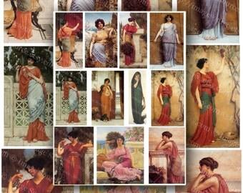 Pre Raphaelite Women Scrapbook Images Digital Collage Sheet Instant Printable Download