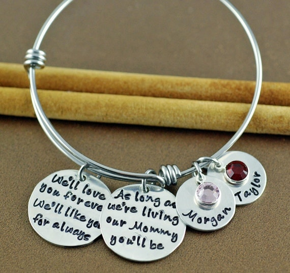We'll love you forever, We'll like you for Always, As long as I'm Living, Personalized Bangle, Hand Stamped Jewelry, Mommy Jewelry