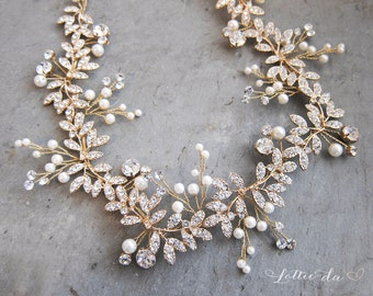 Gold Boho Leaf Bridal Hair Vine Wreath, Wedding Pearl Hair Vine Crown, Boho Wedding Headpiece - 'LYRA'