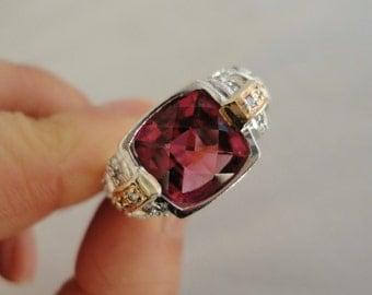 Designer 14K White Gold Diamond Ring with Raspberry Pink Tourmaline 4 1/4 Carats