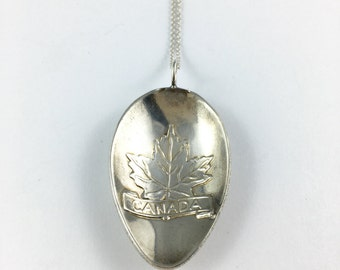 Canada Jewelry, Canada Necklace, Canada Charm, Maple Leaf Charm, Canada Souvenir, Spoon necklace, Spoon Jewelry, Canada Gift, Canada Woman