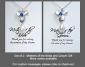 Set of 2: Mother of the Bride Gift, Mother of the Groom Gift, Orchid and Blue Crystal Necklace, Maid of Honor Gift, Orchid Jewelry Set