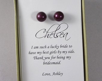 Plum Stud Pearl Bridesmaid Earrings, Purple Bridesmaid Stud Earrings, Wedding Earrings, Bridesmaid Gift Earrings, Plum Purple Pearl Earrings