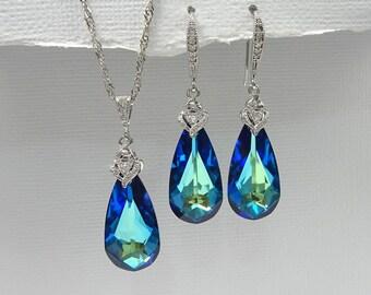Swarovski Bermuda Blue Wedding Jewelry Set, Blue Wedding Jewelry, Mother of the Bride Gift, Mother of the Groom Gift, Gift for Mom