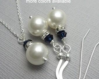 Pearl Jewelry Set, Navy Jewelry.  Bridesmaid Gift, Maid of Honor Gift, Bridal Jewelry Set, Dark Blue Jewelry, Dark Blue Wedding Jewelry