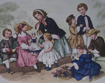 Playful Victorian Children-Doll-Great 1800's Fashion-Hats-Antique Illustrated Print