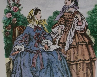 Beautiful Victorian Ladies-1800's Fashion Hoop Dresses-Colorful Artist Signed Litho Print