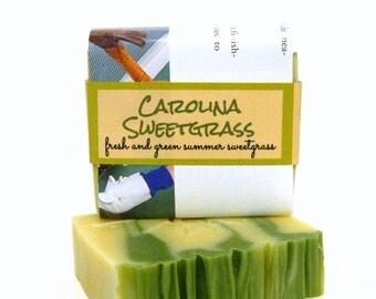 Homemade Soap / CAROLINA SWEETGRASS - Artisan Cold Process Soap -Spring Green