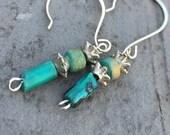 Turquoise earrings, dangle earrings, stone