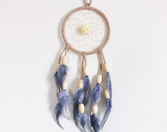 Dream Catcher - Large Floral Dream Catcher - Beige, Ivory, and Gray Feather Dreamcatcher