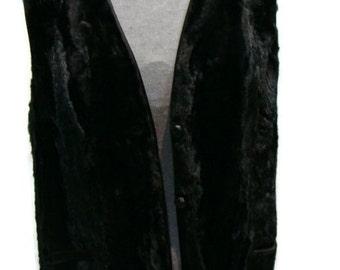 Vintage Black Faux Fur Vest Womens Faux Fur Gilet Faux Fur Vests For Women Faux Fur Gilet Black Faux Fur Gilets Black Fur Vest Black Vests