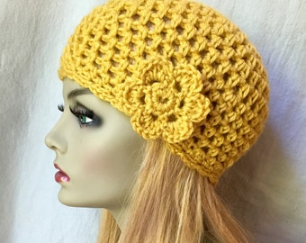 SALE Crochet Womens Hat, Mustard Yellow Beanie, Flower, Soft, Birthday Gifts for Her JE400BF2