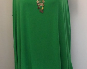 Coco and Juan, Lagenlook, Plus Size Tunic, Green Traveler Knit,  Womens Angled Tank Top Size 2 Fits 3X,4X Bust  to 60 inches
