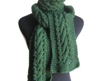 Hand Knit Scarf, Dark Green Cable and Lace Vegan Scarf, The Stef Scarf, Fall Scarf, Womens Accessories, Fall Accessories, Mens Scarf