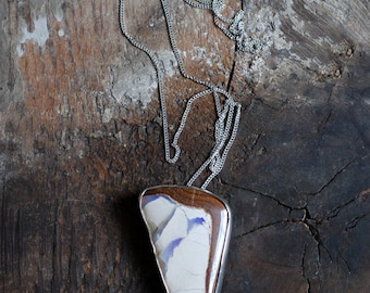 Raw Australian Boulder Opal Pendant Statement Long Hanging