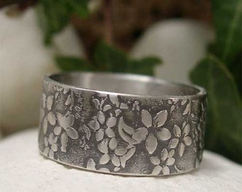 Sterling Silver Wide Band Ring, Hand Forged Silver Jewelry, Silver Flower Ring, Rustic Nature Ring, Organic Botanical Jewelry, Textured Ring