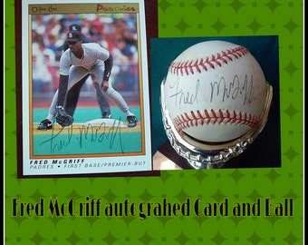 Fred McGriff Autographed Card and Ball