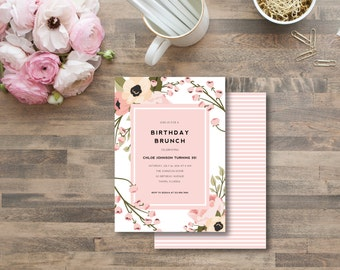 pink floral birthday INVITATION - diy printable