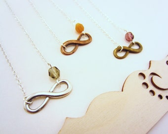 Best friend gift. Friendship necklaces, infinity necklace. Charm necklace, choose your bead. Set of 3 necklaces. LIMITED QUANTITY