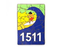 Mosaic House Number, Outdoor House Number Plaque, Ceramic Tile Mosaic Mailbox Number, Beach House Number, Letterbox Number SURFER BLUE