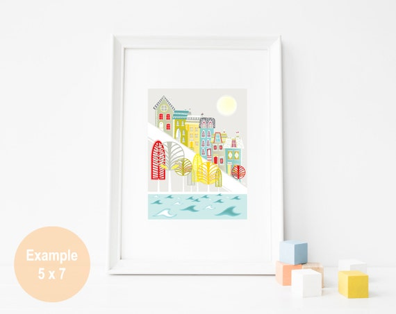 San Francisco Painted Lady Art Print, Skyline Wall Art, Cityscape Illustration, Poster, Home decor, Kids room, Nursery decor Style: SFXP2